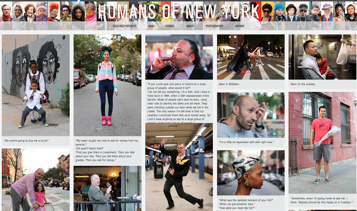 Humans of New York Website Screen shot